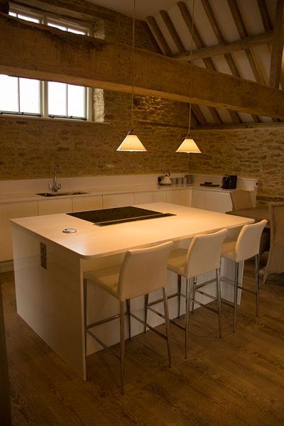 the sleek modern kitchen